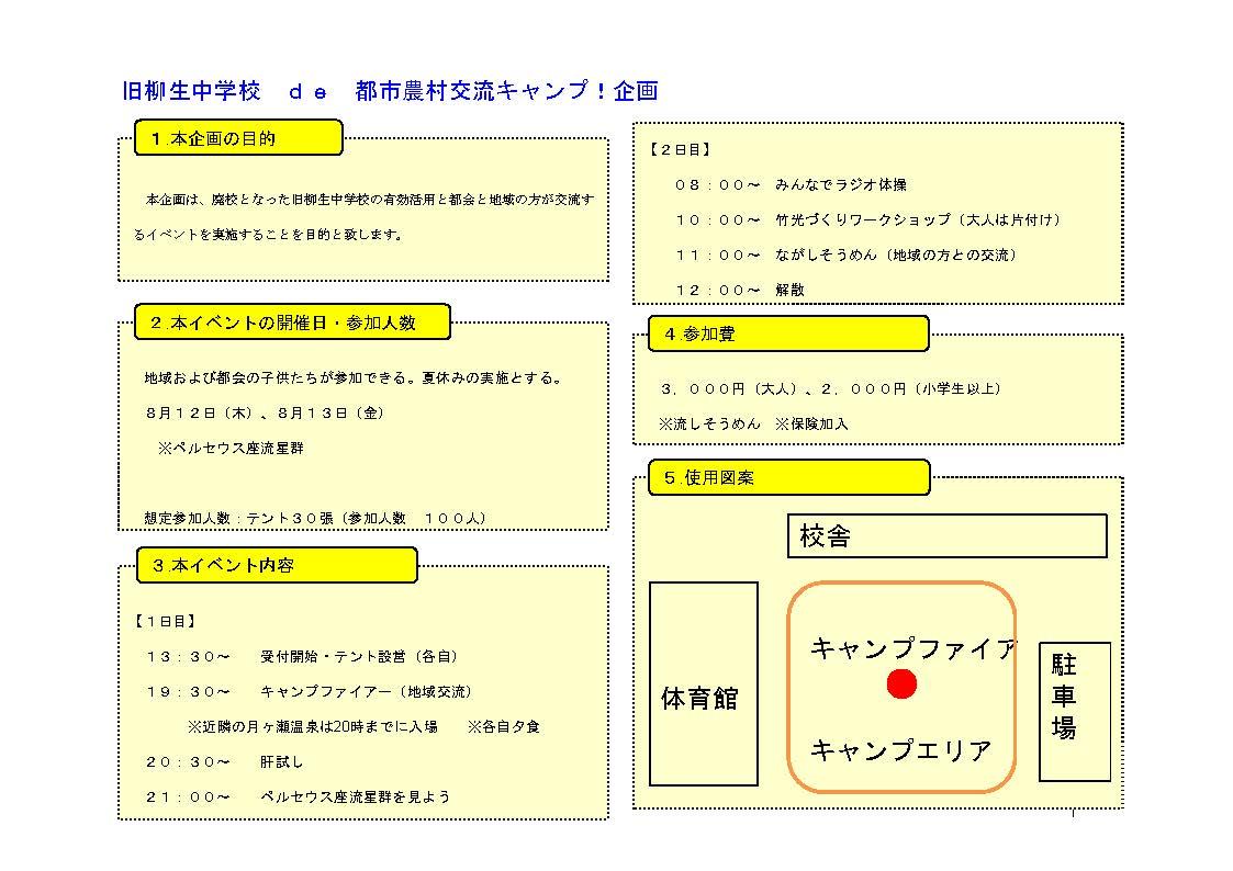奈良:旧柳生中学校 DE CAMP 都市農村交流 @ 旧柳生中学校